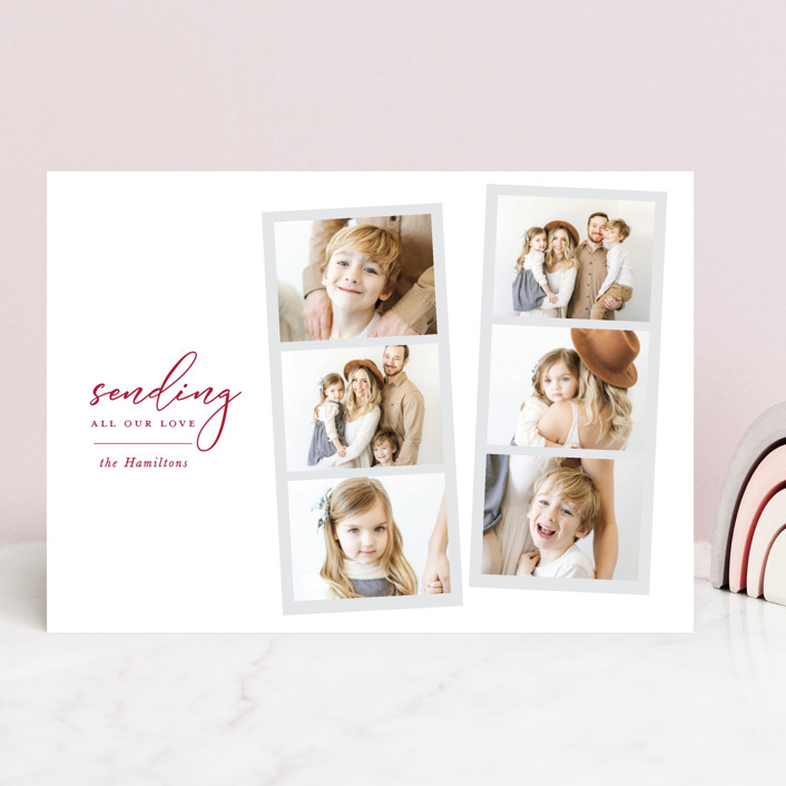 """""""Snapshot love"""" - Preppy Valentine's Day Cards in Ruby by Hudson Meet Rose."""