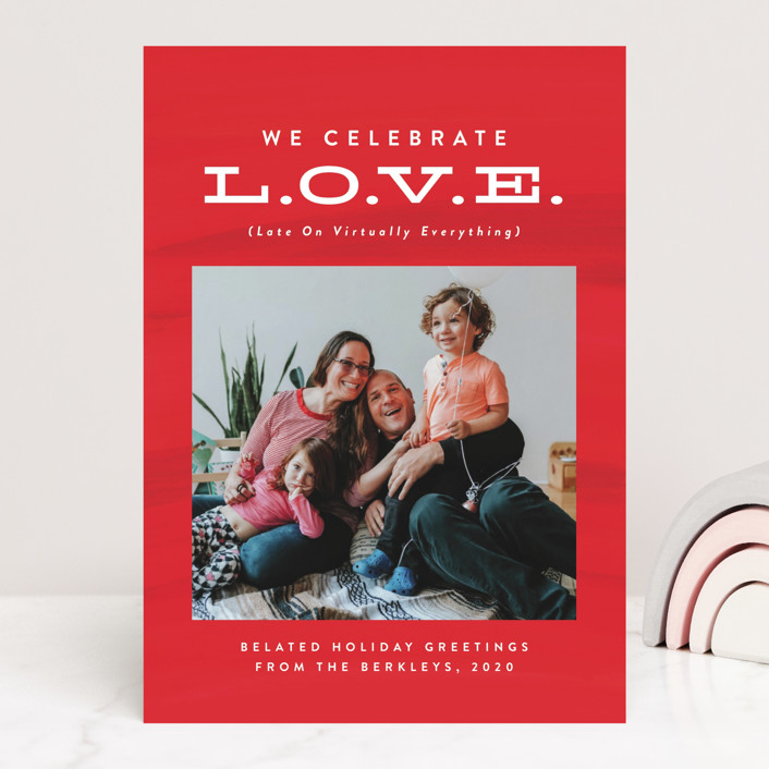 """""""Late On Virtually Everything"""" - Funny Valentine's Day Cards in Cherry by Lea Delaveris."""