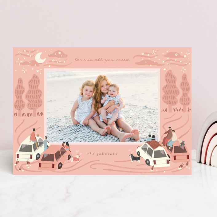 """""""Romantic Theater"""" - Whimsical & Funny Valentine's Day Cards in Coral by Grae."""