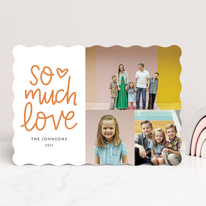 """So Much Love Hand Lettered"" - Whimsical & Funny, Preppy Valentine's Day Cards in Clementine by Vine and Thistle."