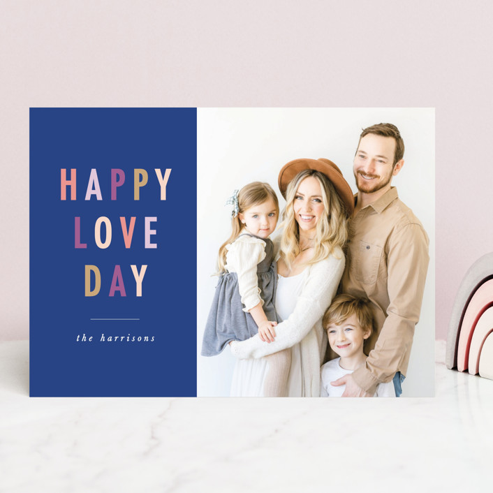"""""""happy colorful love"""" - Preppy Valentine's Day Cards in Steel Blue by Karidy Walker."""