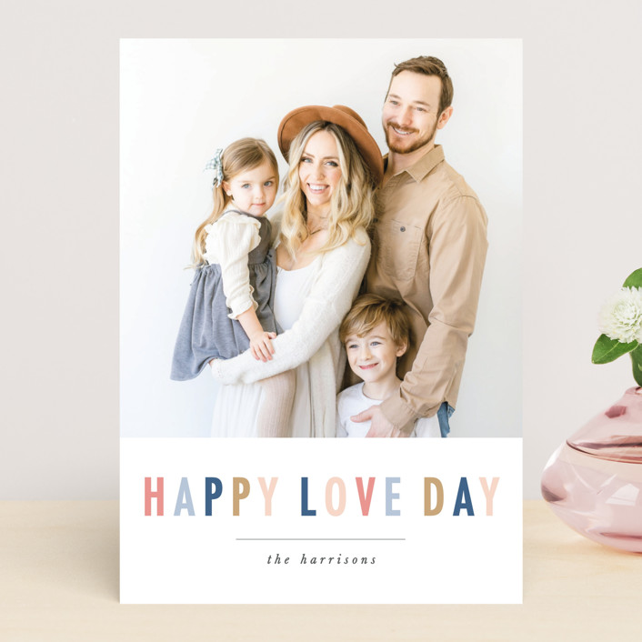 """""""happy colorful love"""" - Valentine's Day Cards in Steel Blue by Karidy Walker."""