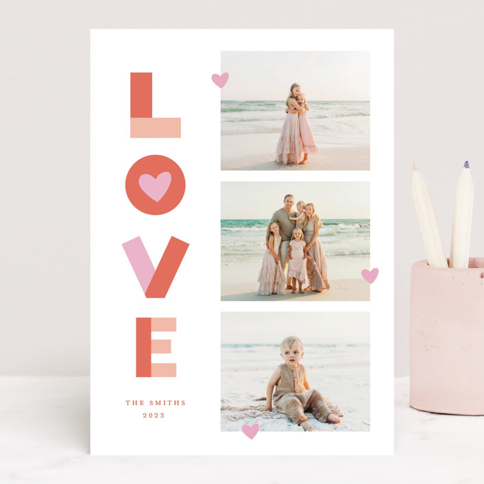 """""""Bright Happy Love"""" - Valentine's Day Cards in Cherry by Little Print Design."""