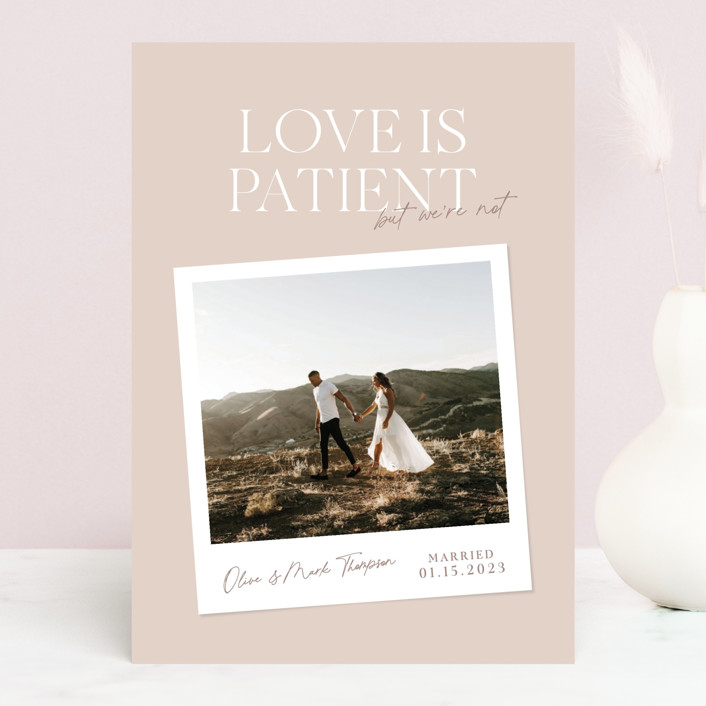 """""""Patient"""" - Funny Valentine's Day Cards in Dusty Rose by Owl and Toad."""