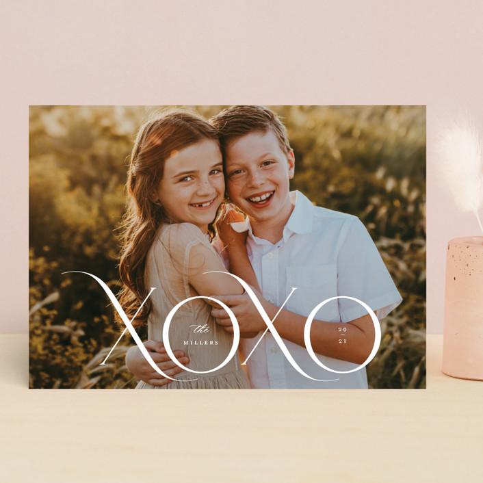 """XOXO MOD"" - Valentine's Day Cards in Cream by Kristel Torralba."