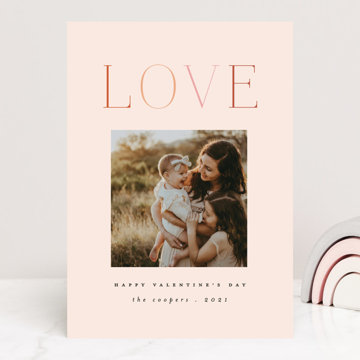 """""""Rainbow of Love"""" - Valentine's Day Cards in Blush by Morgan Kendall."""