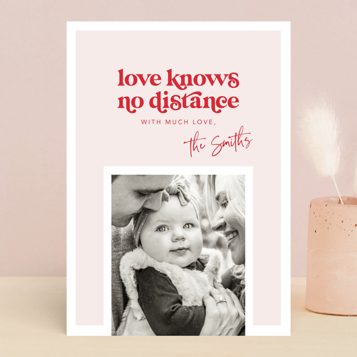 """No distance"" - Valentine's Day Cards in Rose by Caitlin Considine."