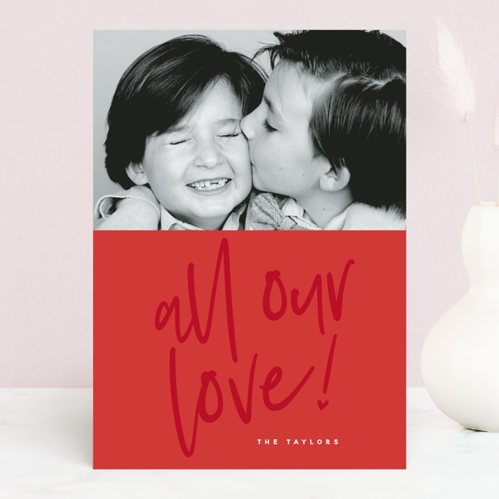 """""""Lovely love"""" - Valentine's Day Cards in Berry Red by Susan Brown."""