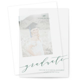 This is a green vellum graduation announcement by Jennifer Postorino called Scripted with standard printing on translucent vellum in overlay.