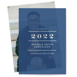 This is a blue vellum graduation announcement by lena barakat called Sharp with standard printing on translucent vellum in overlay.