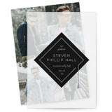 This is a black vellum graduation announcement by Dawn Jasper called modern cap with standard printing on translucent vellum in overlay.