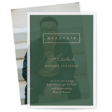 This is a green vellum graduation announcement by Pine Street Creative called Classic Graduate with standard printing on translucent vellum in overlay.