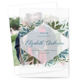 This is a green vellum graduation announcement by Paper Sun Studio called Flourish with standard printing on translucent vellum in overlay.