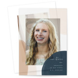 This is a brown vellum graduation announcement by Leah Bisch called Painterly Frame with standard printing on translucent vellum in overlay.