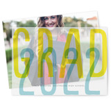 This is a yellow vellum graduation announcement by Baumbirdy called screened grad with standard printing on translucent vellum in overlay.