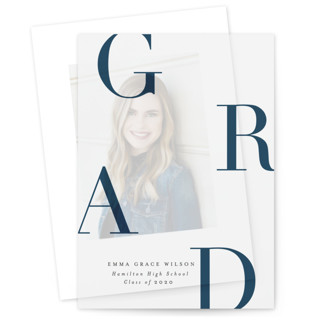 This is a blue vellum graduation announcement by Marina Onoprienko called Modern and Bright Grad with standard printing on translucent vellum in overlay.