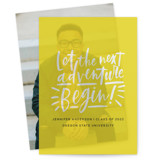 This is a yellow vellum graduation announcement by Alicia Schultz called Begin with standard printing on translucent vellum in overlay.