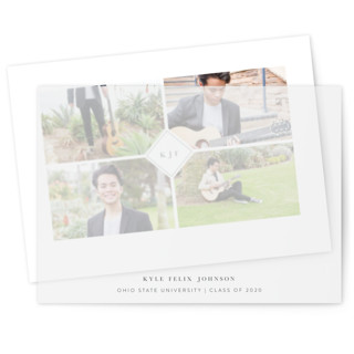 This is a grey vellum graduation announcement by Mayflower Press called centered with standard printing on translucent vellum in overlay.
