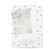This is a white vellum graduation announcement by Hooray Creative called Grad Cap Confetti with standard printing on translucent vellum in overlay.