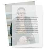 This is a black vellum graduation announcement by Minted called Little Note with standard printing on translucent vellum in overlay.