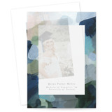 This is a blue vellum graduation announcement by Nicole Walsh called abstraction with standard printing on translucent vellum in overlay.