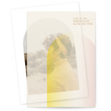 This is a brown vellum graduation announcement by Baumbirdy called Ombre Arch with standard printing on translucent vellum in overlay.
