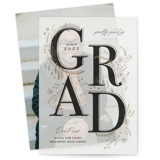 This is a beige vellum graduation announcement by Corie Page called Floral Flourish with standard printing on translucent vellum in overlay.