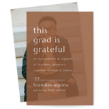 This is a brown vellum graduation announcement by Griffinbell Paper Co. called Grateful Grad with standard printing on translucent vellum in overlay.