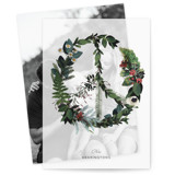 This is a green vellum holiday card by Baumbirdy called Floral Peace with standard printing on translucent vellum in overlay.