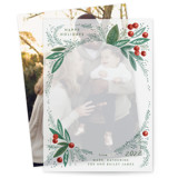 This is a green vellum holiday card by Alethea and Ruth called Snow Globe Pine Branches with standard printing on translucent vellum in overlay.