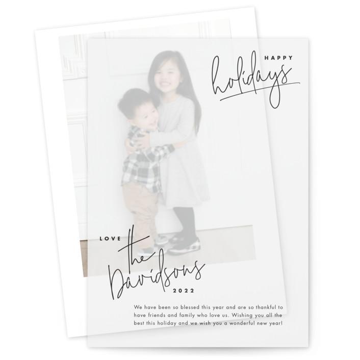 hand-written holiday Vellum Overlay Holiday Cards