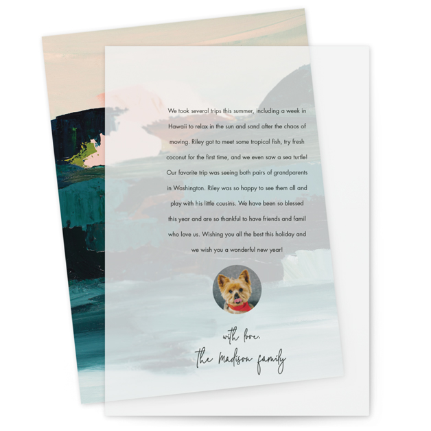 This is a black vellum holiday card by Minted called Memo with standard printing on translucent vellum in overlay.