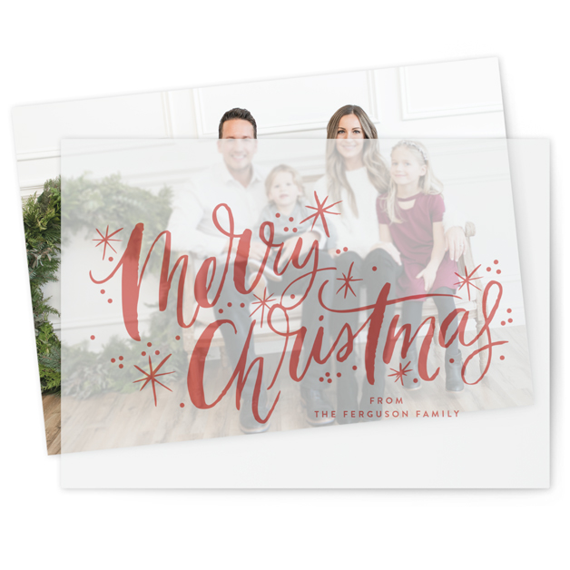 This is a red vellum holiday card by Alethea and Ruth called Merry Christmas Sparkle Snow with standard printing on translucent vellum in overlay.