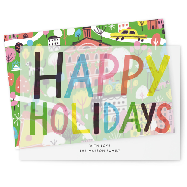 This is a green vellum holiday card by Jordan Sondler called Boston Cityscape with standard printing on translucent vellum in overlay.