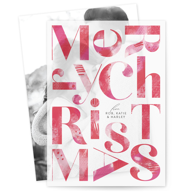 This is a pink vellum holiday card by Carrie ONeal called Tree Skirt with standard printing on translucent vellum in overlay.