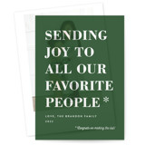 This is a green vellum holiday card by Amy Payne called You Made the List with standard printing on translucent vellum in overlay.