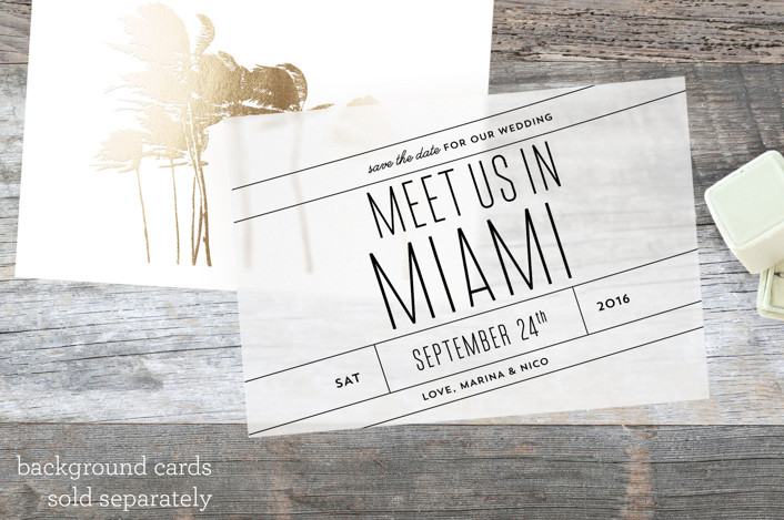 """""""Meet Us In Miami"""" - Bold typographic, Modern Vellum Overlay in Midnight by Cheer Up Press."""