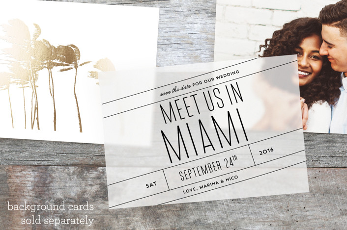 """Meet Us In Miami"" - Bold typographic, Modern Vellum Overlay in Midnight by Cheer Up Press."