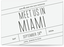 This is a black vellum wedding invitation by Cheer Up Press called Meet Us In Miami with standard printing on translucent vellum in overlay.