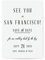 This is a black vellum wedding invitation by Elly called See You In San Francisco with standard printing on translucent vellum in overlay.