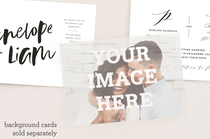 """5 x 7 Landscape Custom"" - Simple, Modern Vellum Overlay in Mist by Minted."