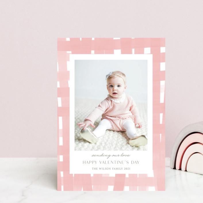 """Soft plaid"" - Preppy Valentine's Day Petite Cards in Powder Pink by Yaling Hou Suzuki."