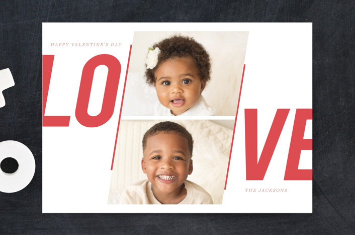 """""""Bold Love"""" - Bold typographic, Modern Valentine's Day Petite Cards in Coral by Creo Study."""