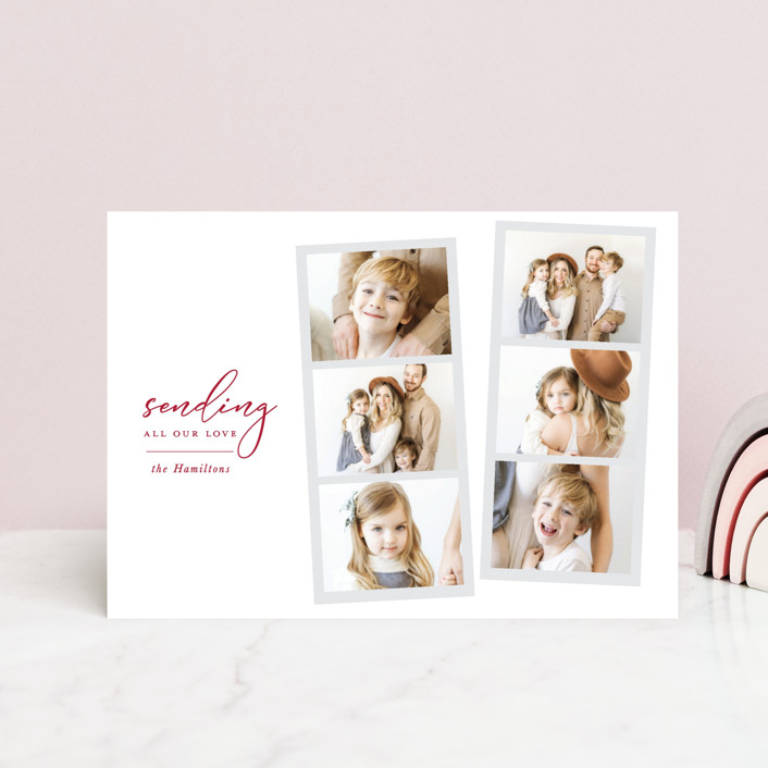 """Snapshot love"" - Preppy Valentine's Day Petite Cards in Ruby by Hudson Meet Rose."
