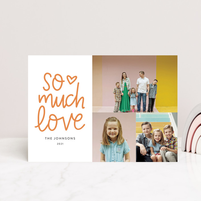 """So Much Love Hand Lettered"" - Whimsical & Funny, Preppy Valentine's Day Petite Cards in Clementine by Vine and Thistle."