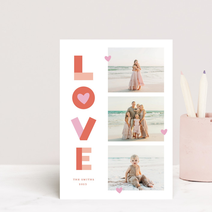 """""""Bright Happy Love"""" - Valentine's Day Petite Cards in Cherry by Little Print Design."""