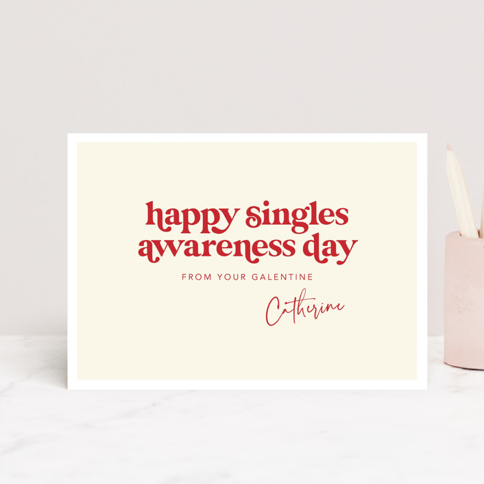 """Happy Singles Awareness"" - Funny Valentine's Day Petite Cards in Vanilla by Caitlin Considine."