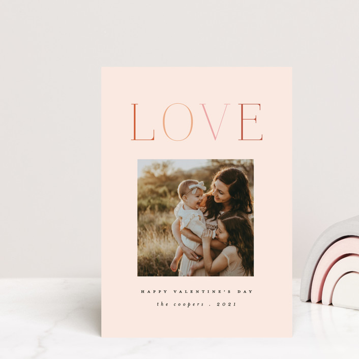 """""""Rainbow of Love"""" - Valentine's Day Petite Cards in Blush by Morgan Kendall."""