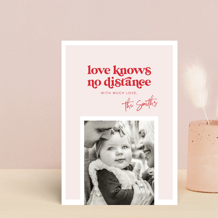 """No distance"" - Valentine's Day Petite Cards in Rose by Caitlin Considine."