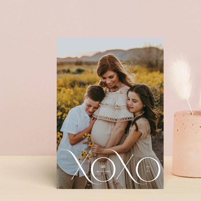 """XOXO MOD"" - Valentine's Day Petite Cards in Cream by Kristel Torralba."